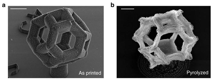 Напечатанная из металлсодержащего полимера деталь в форме усеченного октаэдра