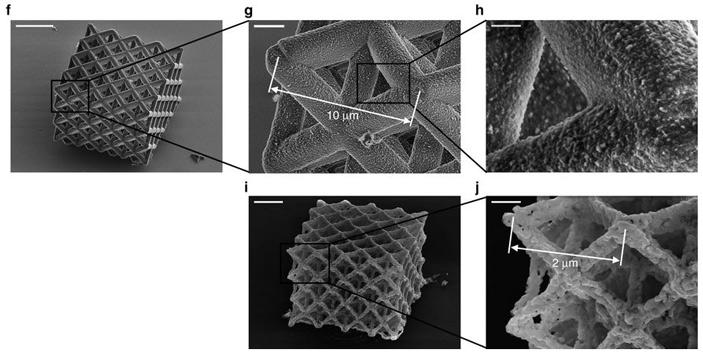 Рис. 3. Напечатанная из никельсодержащего полимера трехмерная сетка