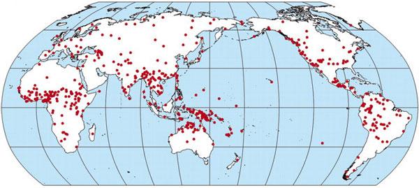 Географическое распределение 504 языков