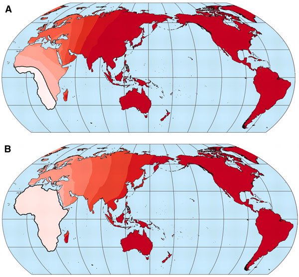 Локализация предполагаемого центра происхождения языков