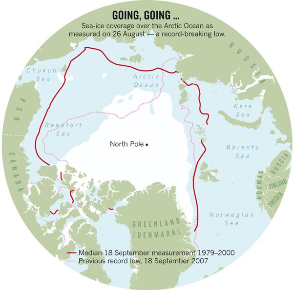 Состояние ледового покрова Северного Ледовитого океана в конце лета-начале осени