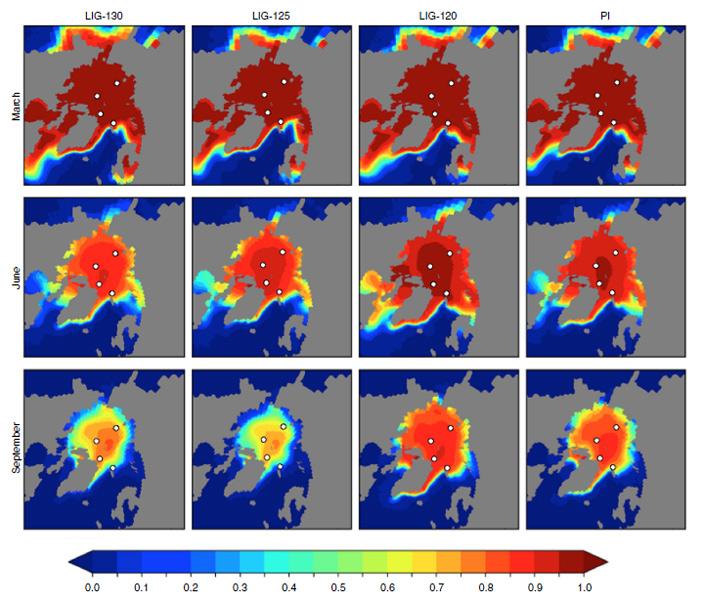 Рис. 2. Карты распространения ледового покрова в Арктическом бассейне в период последнего межледниковья