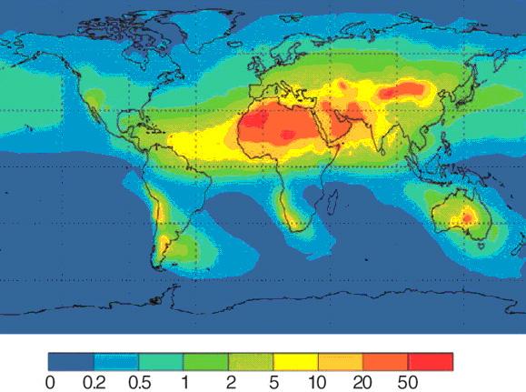 Рис. 3. Распределение пыли (г/м2 вгод), приносимой в океан ветрами из Сахары, а также пустынь Аравийского полуострова и Центральной Азии. Именно с пылью попадает в океан железо, столь нужное азотфиксирующим цианобактериям. Рисунок из статьи: P.W.Boyd etal. Mesoscale iron enrichment experiments 1993-2005: Synthesis and future directions// Science. 2007. V.315. P.612–617