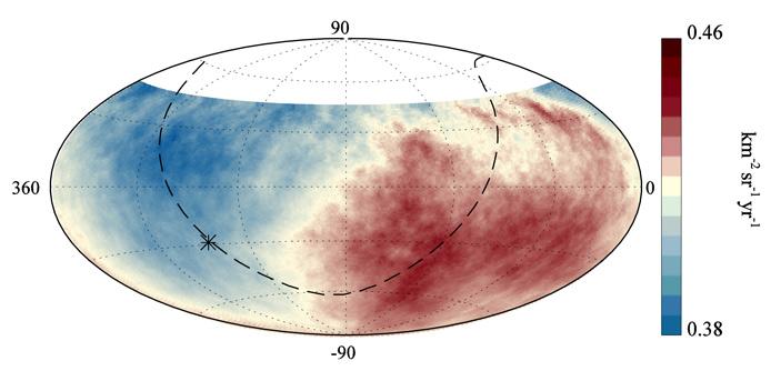 Рис. 4. Распределение потока космических лучей с энергиями более 8×1018 эВ по небесной сфере в экваториальных координатах