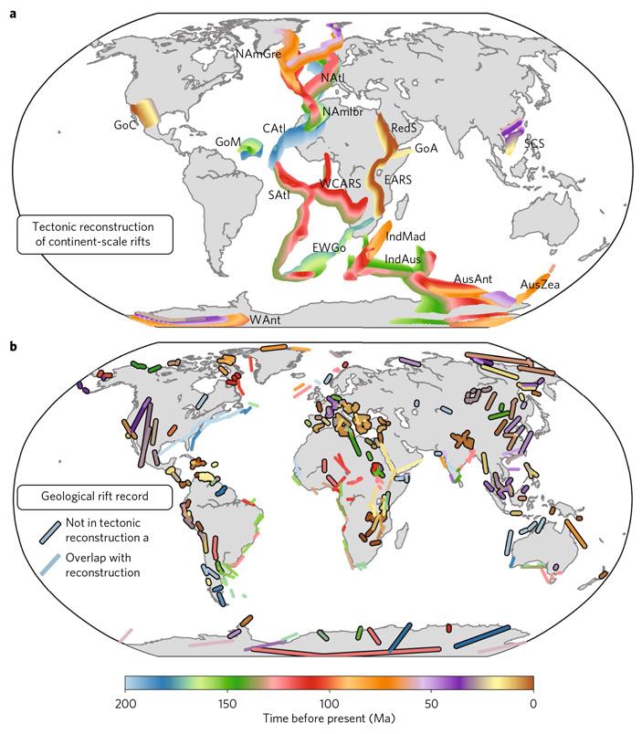 Рис. 4. Схема расположения и время активизации континентальных рифтов