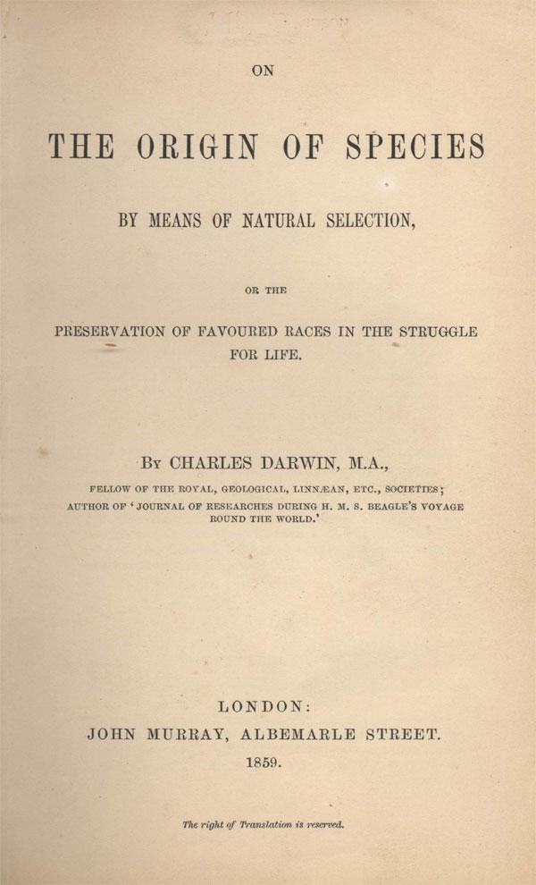 Титульный лист первого издания «Происхождения видов» (1859). Заявленная автором как «abstract», эта книга содержала всестороннее обсуждение новой теории, изложенное на доступном для любого образованного человека уровне, и сразу после публикации стала бестселлером. Вомногом именно поэтому, несмотря на то, что Дарвин давно умер, атеория эволюции за последнее столетие была основательно переработана и дополнена, мы по сей день говорим «Дарвин», подразумеваем— «эволюция». Фото с сайта www.library.usyd.edu.au