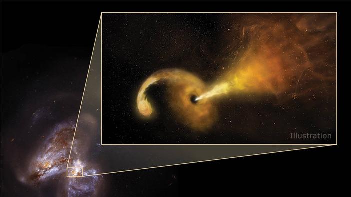 Рис. 2. Художественное изображение приливного разрушения звезды сверхмассивной черной дырой