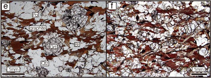 Рис. 2. Общий вид шлифов из двух разных регионов пояса древнейших осадочных пород Лабрадора