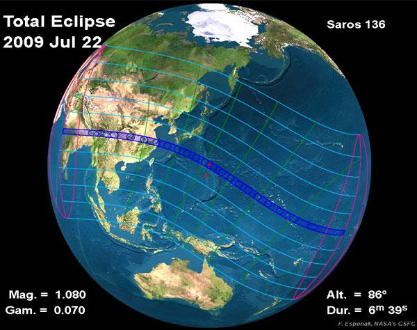 Схема видимости затмения 22 июля 2009 года. Изображение с сайта eclipse.gsfc.nasa.gov