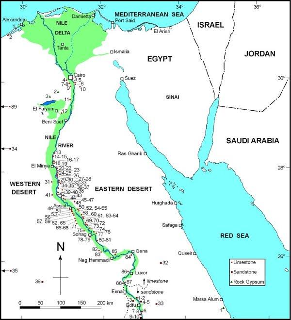 Рис.2. Карта древнеегипетских каменоломен изобсуждаемой статьи вEncyclopedia ofEgyptology.
