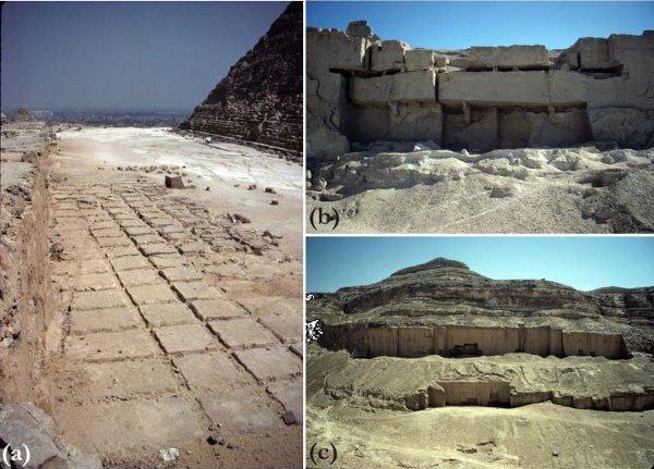 Рис.3.(a)Открытая каменоломня для добычи известняка для пирамиды Хафра вГизе, где сохранилась разметка (рис.2,4); (b)штольня для добычи известняка вКо-эль-Кебир сопорными колоннами (рис.2,64); (c)каменоломня для извлечения песчаных блоков вНаг-эль-Хош (рис.2,8).
