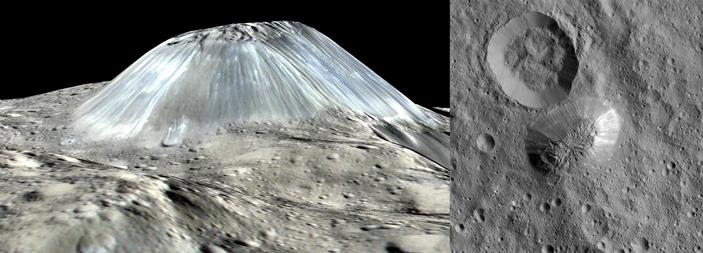 Гибридная геокриологическая модель объяснила, как возникли холмы и факулы в кратере Оккатор на Церере
