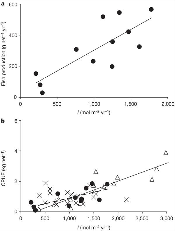 Рис. 3. Зависимость продукции рыб(a) (г/сеть/год) и вылова рыбы врасчете на промысловое усилие(b) (кг/сеть/год) от общей освещенности водной толщи для ряда озер с невысоким содержанием биогенных элементов. На рис.a— данные по подробно исследованным в работе 12озерам в Швеции. На рис.b— данные для расширенной выборки (33озера), включая данные по озерам на рис.a (кружочки), атакже другие озера в Швеции (треугольники) и озера в Финляндии (крестики). Видно, что с увеличением освещенности растет продукция рыб и объем вылова. Рис. из обсуждаемой статьи Jan Karlsson etal. в Nature