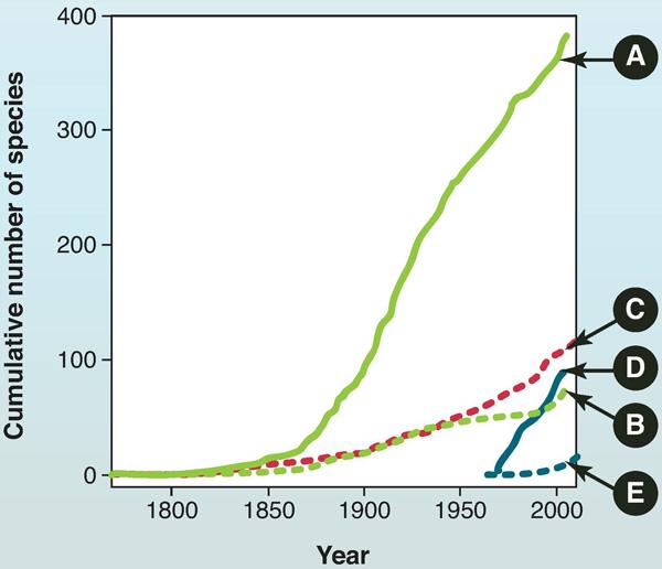 Число видов насекомых и других беспозвоночных, ввезенных вСША, вЕвропы и отдельно вАнглию