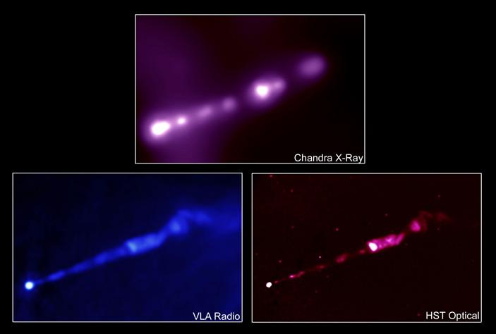 Рис. 4. Релятивистский джет близкой от нас гигантской галактики М87