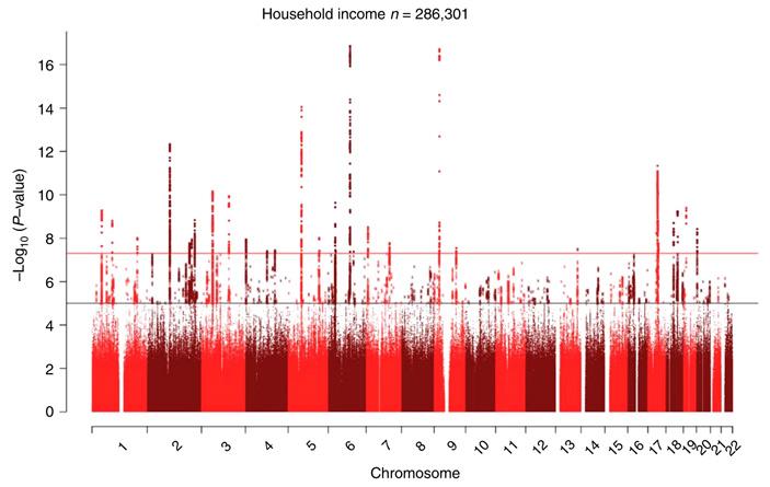 Рис. 3. «Манхэттенский график» с результатами полногеномного поиска ассоциаций для признака «доход семьи»