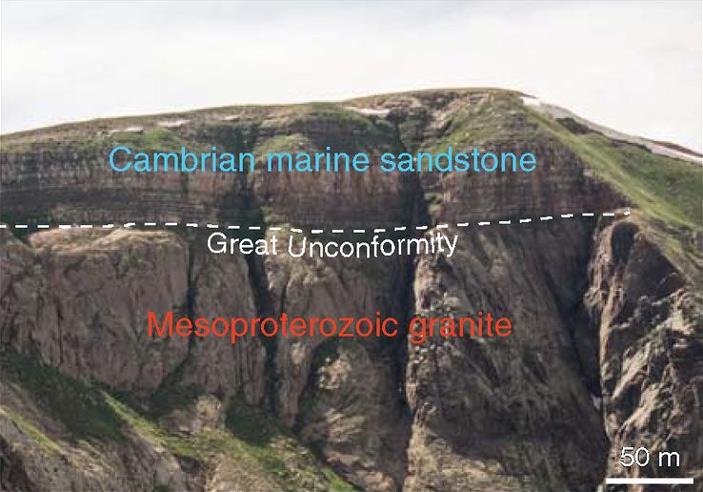 Рис. 3. Кембрийские кварциты, залегающие на мезопротерозойских гранитах
