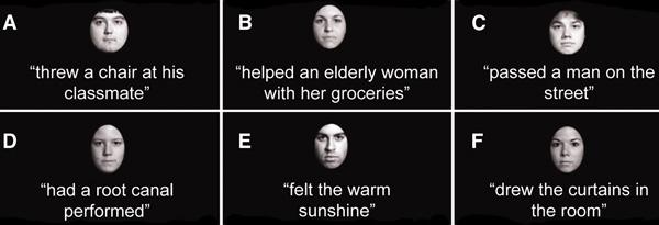 Примеры лиц и «сплетен», использовавшихся в эксперименте. Изображение из обсуждаемой статьи вScience