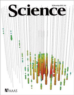 Рис. 5. Обложка журнала Science за 22�ноября 2013�года с�изображением отклика, который оставило нейтрино с энергией 250�ТэВ, зарегистрированное детектором IceCube