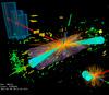 Графическое изображение события-кандидата в распад бозона Хиггса на два тау-лептона, зарегистрированного детектором ATLAS