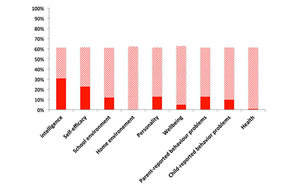 Рис. 2. Вклад параметров 9 групп в наследуемость результатов экзаменов GCSE