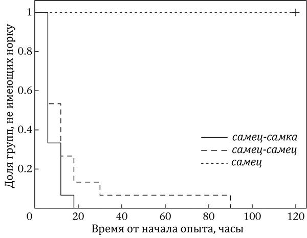 Доли каждой из трех групп термитов, не имеющие собственных норок, в зависимости от времени с начала эксперимента.