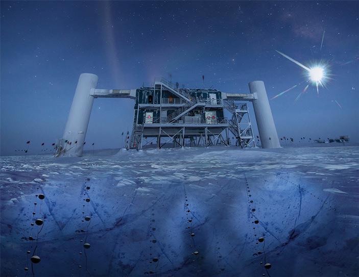 Вид на надземную часть нейтринной обсерватории IceCube