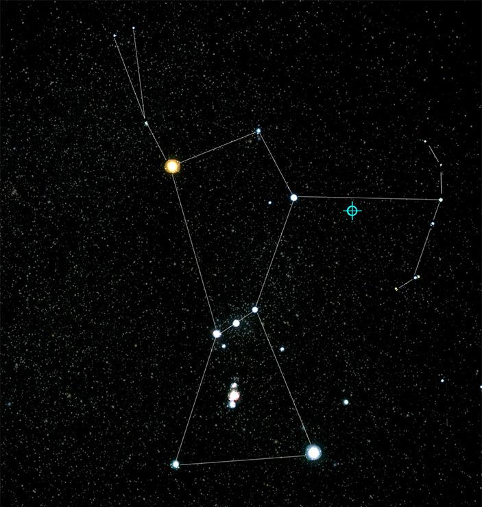 Рис. 2. Положение блазара TXS 0506+056 в созвездии Ориона