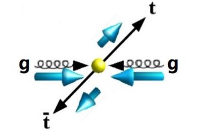 Спины топ-кварка и топ-антикварка, родившихся встолкновении двух глюонов одинаковой спиральности, противоположны (тоесть их спиральности— одинаковы)