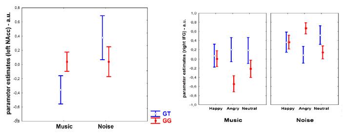 Уровень возбуждения в прилежащем ядре и правой нижней лобной извилине у носителей разных генотипов GT и GG