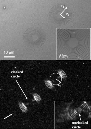 Рис. 1. Две структуры из концентрических колец с объектом внутри при освещении белым светом (вверху) и при пропускании «плоского света» сдлиной волны 532нм (внизу). Изображение из обсуждаемой статьи