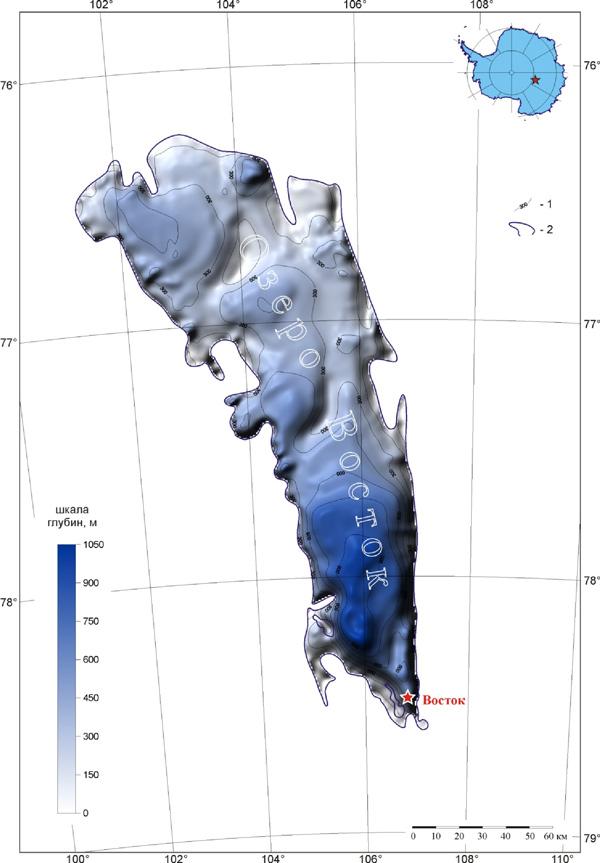 Распределение глубин на озере Восток