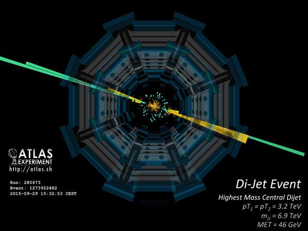 Рис. 2. Двухструйное событие с инвариантной массой 6,9 ТэВ, зафиксированное на детекторе ATLAS