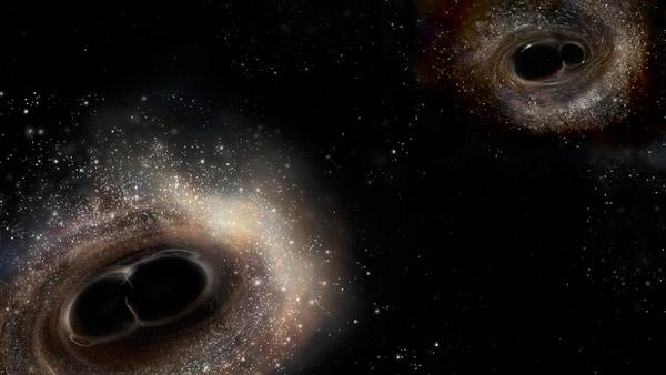 Художественное изображение того, как могли бы выглядеть события слияния черных дыр GW150914 и GW151226