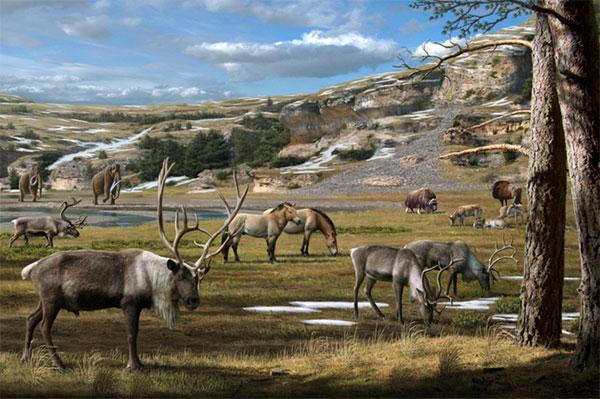 Плейстоценовый пейзаж, как его представил художник Антон Мауриццо. Напереднем плане— северные олени