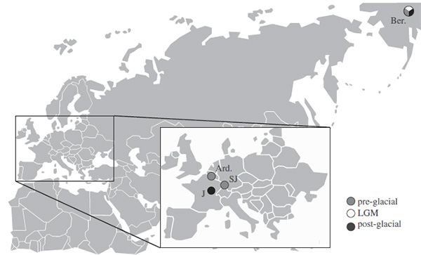 Расположение плейстоценовых мамонтовых степей, материал из которых использован вданной работе