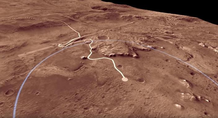 Рис. 3. Предполагаемый маршрут движения планетохода «Марс-2020»