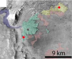 Рис. 5. Места, где был идентифицирован гидратированный кремнезем