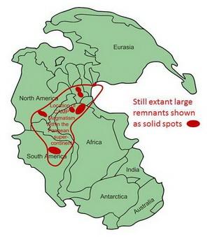 <b>Рис.4.</b> Расположение фрагментов Центрально-Атлантической магматической провинции в пределах Пангеи