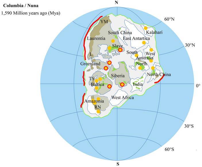 Реконструкция гипотетического суперконтинента Колумбия