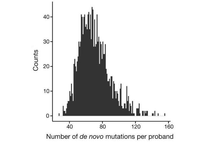 Рис. 2. Число людей с разным количеством новых мутаций