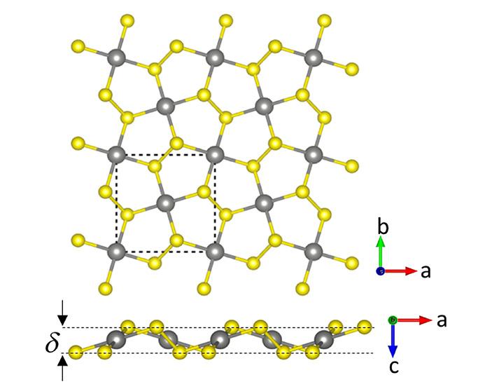 Рис. 3. Вид сверху и вид сбоку на кристаллическую структуру селенида палладия