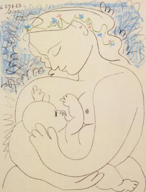 Любовь к детям и простое желание быть родителями— именно благодаря этим признакам станет возможным выживание вбудущем Homo sapiens как биологического вида. Литография Пабло Пикассо «Материнство», 1963год. Частная коллекция. Соткрытки Editions Hazan, Paris ©SPADEM 1993