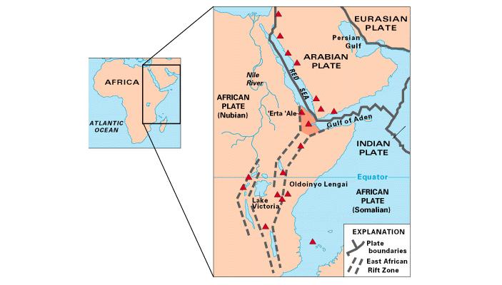Рис. 2. Система рифтов Восточной Африки