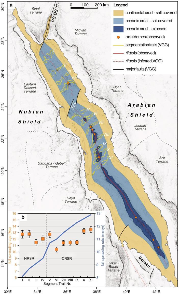 Рис. 4. Новая тектоническая модель рифта Красного моря