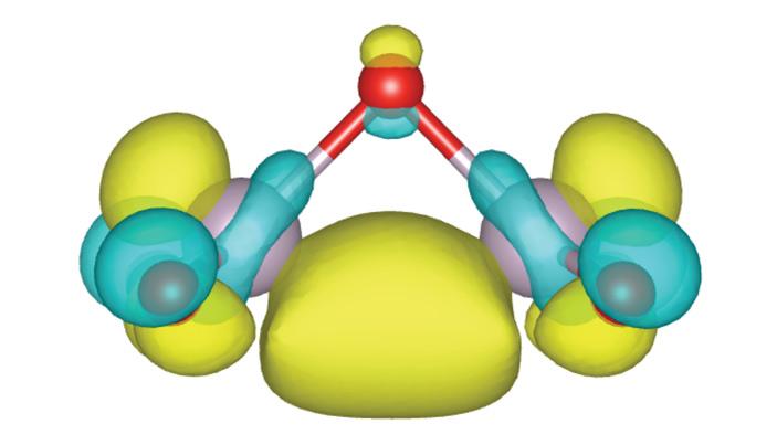 Рис. 3. Электронное облако верхней занятой молекулярной орбитали мономерного звена