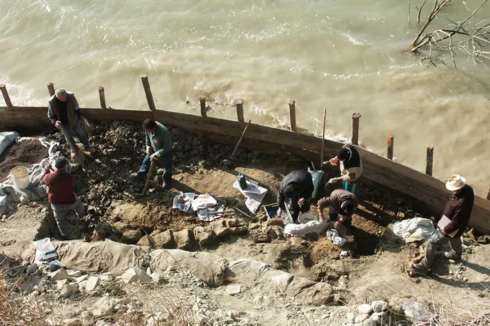 Рис. 2. Раскопки синего кита на берегу озера Сан-Джулиано