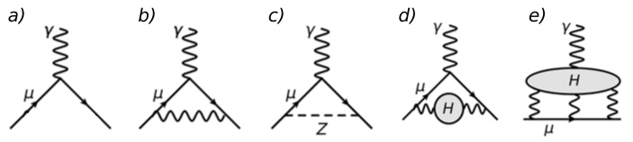 Рис. 4. Примеры известных процессов, изменяющих магнитный момент мюона