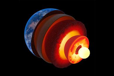 Схематическое изображение внутренних оболочек Земли