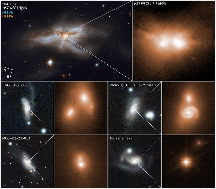 Рис. 4. разные сливающиеся галактики